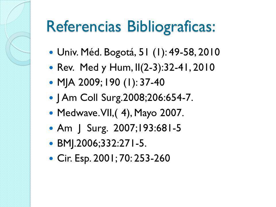 Referencias Bibliograficas: Univ. Méd. Bogotá, 51 (1): 49-58, 2010 Rev. Med y Hum, II(2-3):32-41, 2010 MJA 2009; 190 (1): 37-40 J Am Coll Surg.2008;20