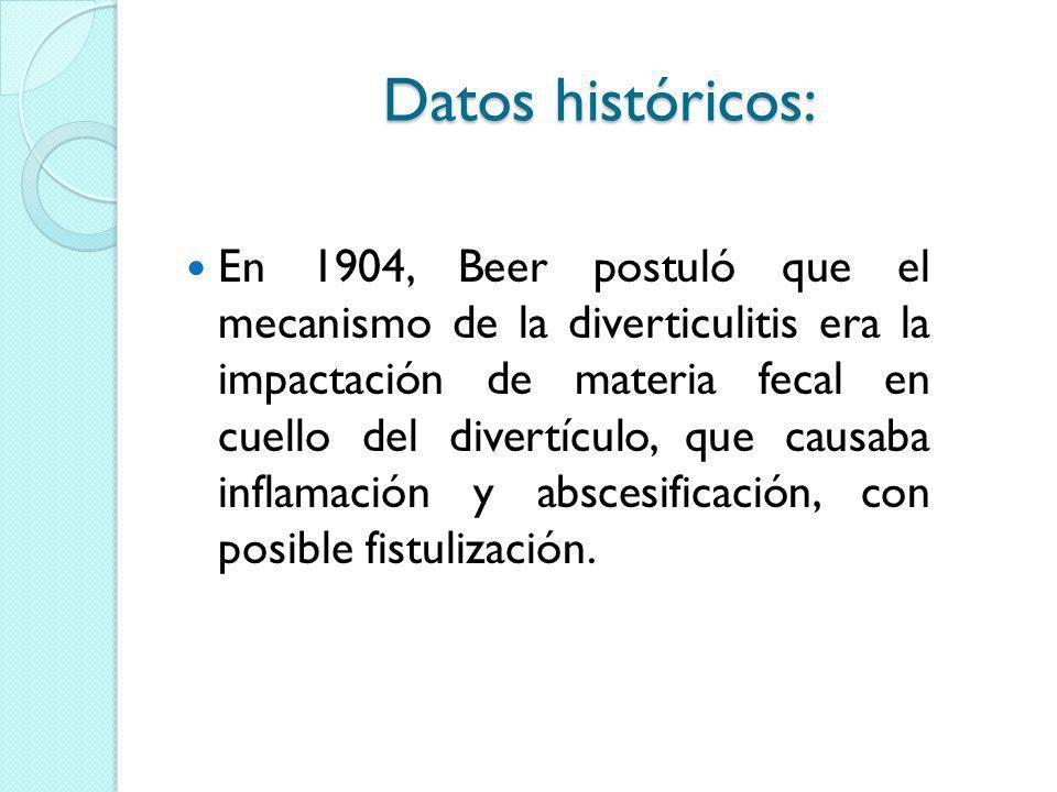 Datos históricos: En 1904, Beer postuló que el mecanismo de la diverticulitis era la impactación de materia fecal en cuello del divertículo, que causa