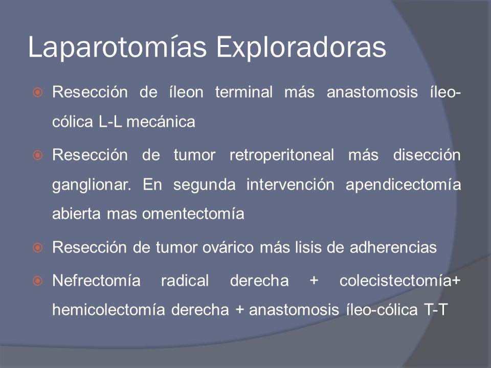 Laparotomías Exploradoras Resección de íleon terminal más anastomosis íleo- cólica L-L mecánica Resección de tumor retroperitoneal más disección gangl