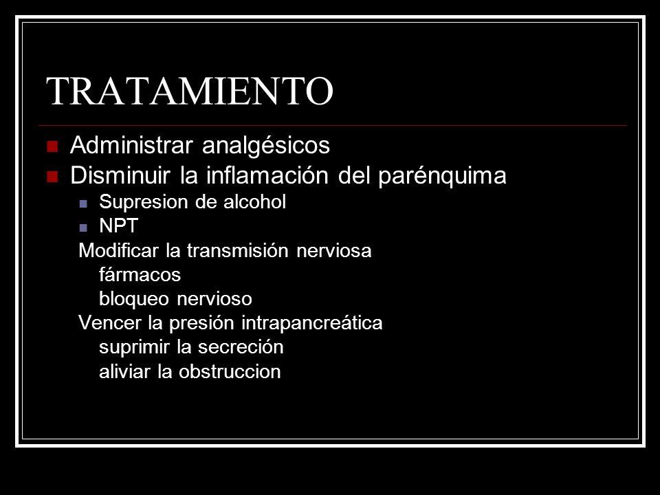 TRATAMIENTO Administrar analgésicos Disminuir la inflamación del parénquima Supresion de alcohol NPT Modificar la transmisión nerviosa fármacos bloque