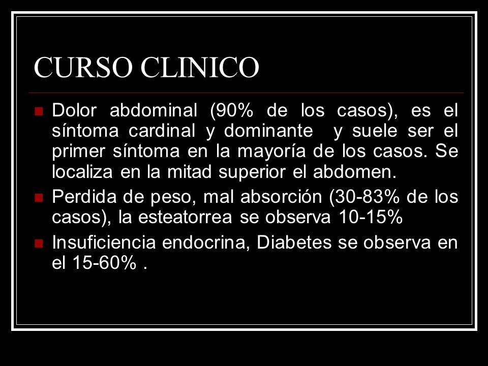 CURSO CLINICO Dolor abdominal (90% de los casos), es el síntoma cardinal y dominante y suele ser el primer síntoma en la mayoría de los casos. Se loca