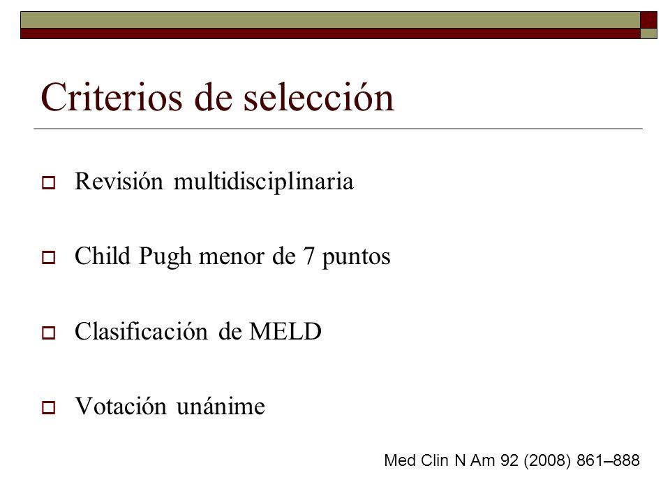 Criterios de selección Revisión multidisciplinaria Child Pugh menor de 7 puntos Clasificación de MELD Votación unánime Med Clin N Am 92 (2008) 861–888