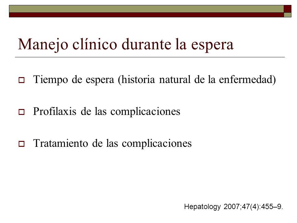 Manejo clínico durante la espera Tiempo de espera (historia natural de la enfermedad) Profilaxis de las complicaciones Tratamiento de las complicacion