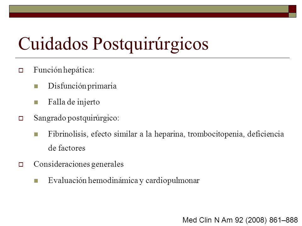 Cuidados Postquirúrgicos Función hepática: Disfunción primaria Falla de injerto Sangrado postquirúrgico: Fibrinolisis, efecto similar a la heparina, t