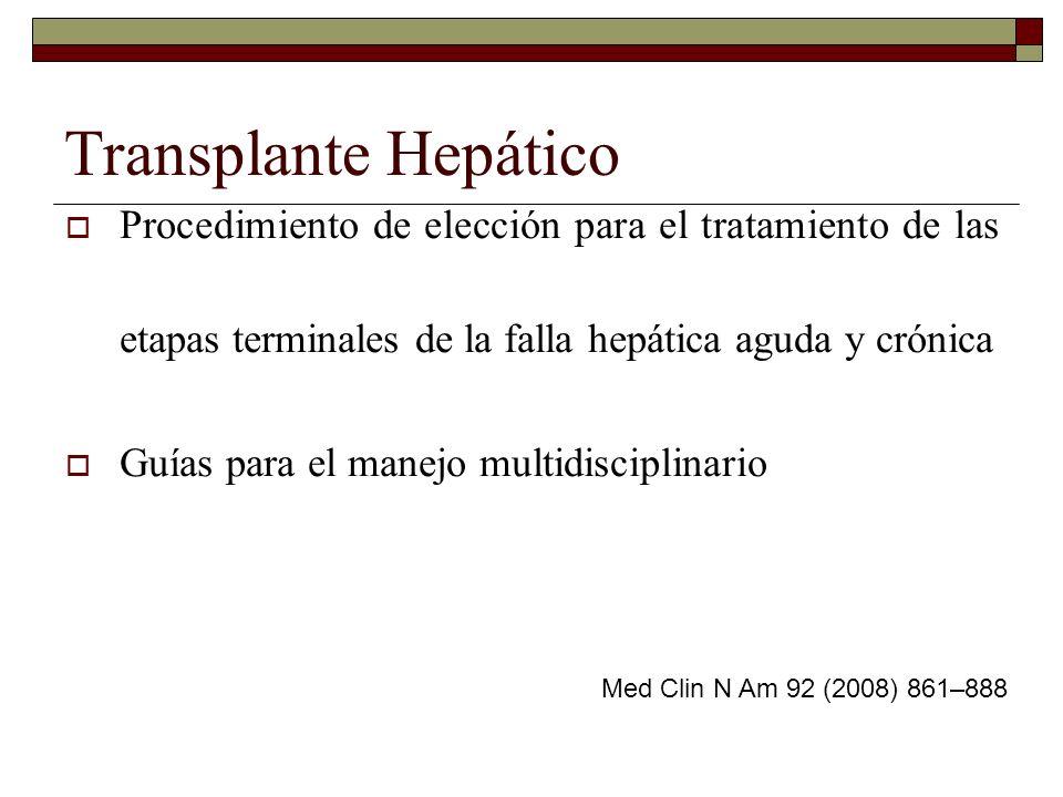 Falla Hepática Aguda Crónica (cirrosis descompensada) Era pretransplantes: Mortalidad por falla hepática fulminante del 80-90% Ahora la sobrevida a 1 año es mayor al 85% Med Clin N Am 92 (2008) 861–888