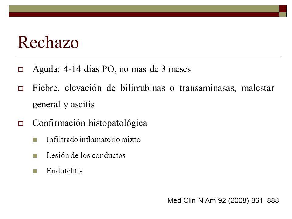 Rechazo Aguda: 4-14 días PO, no mas de 3 meses Fiebre, elevación de bilirrubinas o transaminasas, malestar general y ascitis Confirmación histopatológ
