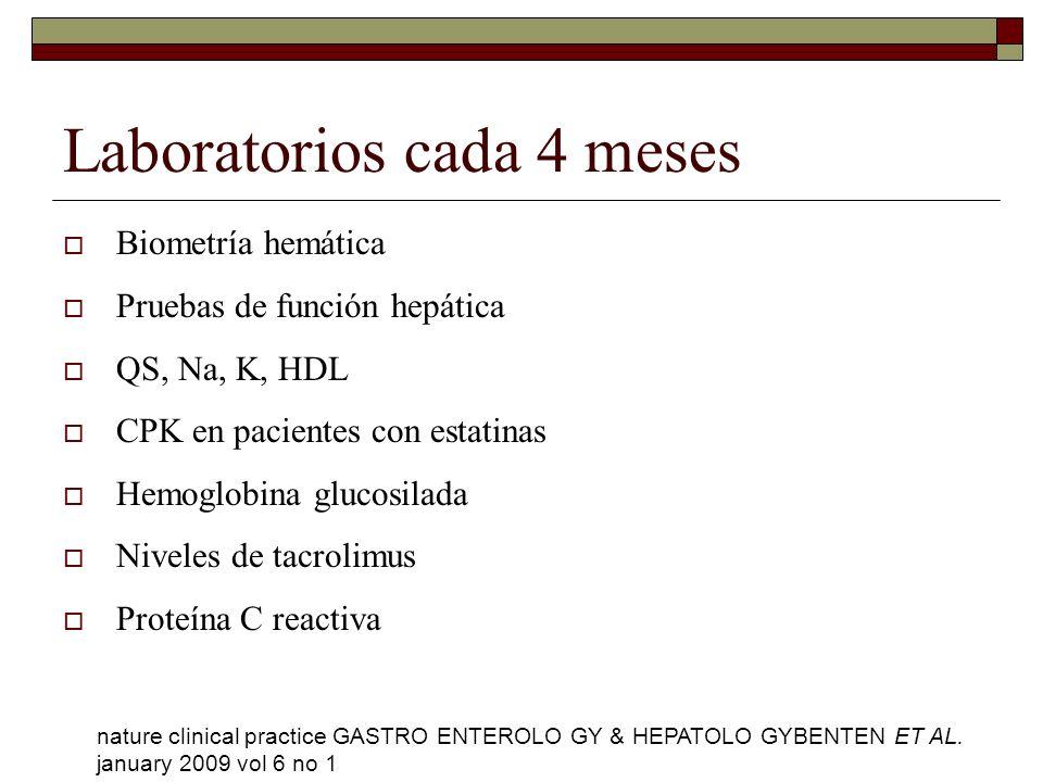Laboratorios cada 4 meses Biometría hemática Pruebas de función hepática QS, Na, K, HDL CPK en pacientes con estatinas Hemoglobina glucosilada Niveles