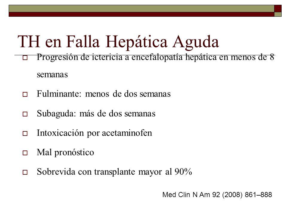 TH en Falla Hepática Aguda Progresión de ictericia a encefalopatía hepática en menos de 8 semanas Fulminante: menos de dos semanas Subaguda: más de do