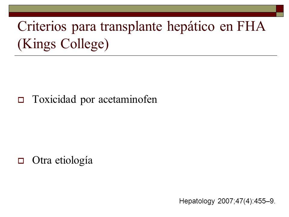 Toxicidad por acetaminofen PH menor de 7.30 después de reanimación hídrica INR >6.5 Creatinina >3 mg/dl Encefalopatía grados 3-4 Pobre respuesta a medicamentos durante 24-48hrs.