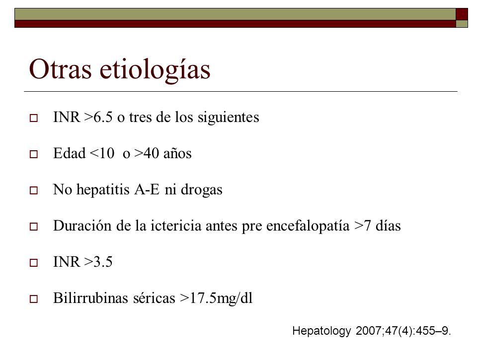 Otras etiologías INR >6.5 o tres de los siguientes Edad 40 años No hepatitis A-E ni drogas Duración de la ictericia antes pre encefalopatía >7 días IN