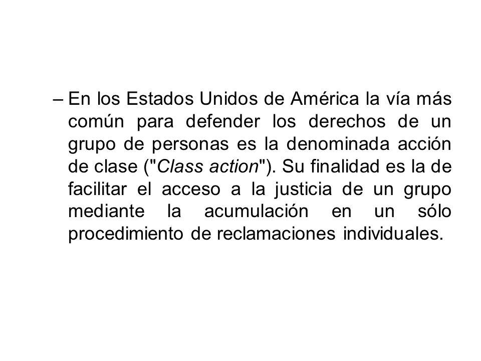 –En los Estados Unidos de América la vía más común para defender los derechos de un grupo de personas es la denominada acción de clase (