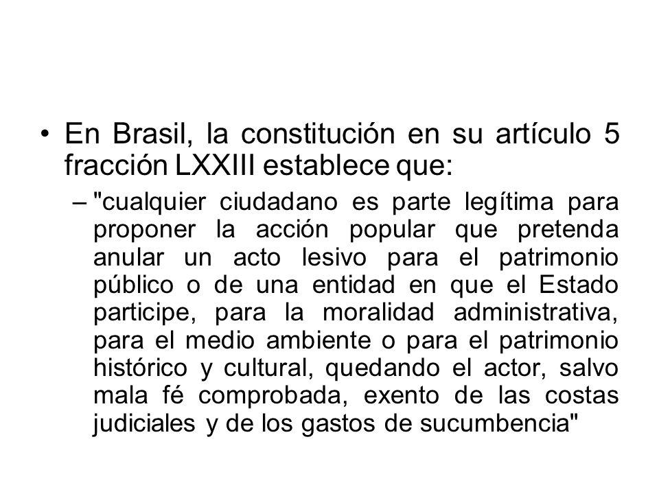 En Brasil, la constitución en su artículo 5 fracción LXXIII establece que: –