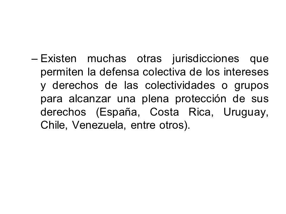 –Existen muchas otras jurisdicciones que permiten la defensa colectiva de los intereses y derechos de las colectividades o grupos para alcanzar una pl