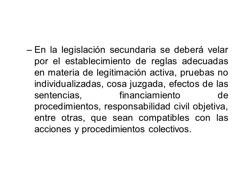 –En la legislación secundaria se deberá velar por el establecimiento de reglas adecuadas en materia de legitimación activa, pruebas no individualizada