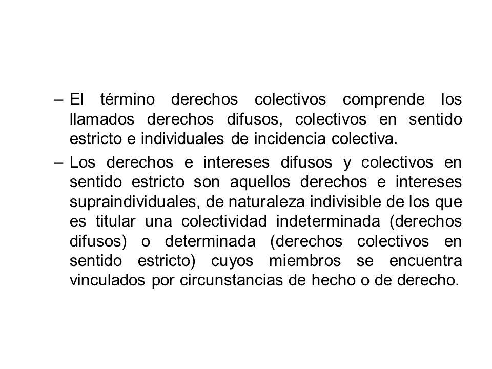 –El término derechos colectivos comprende los llamados derechos difusos, colectivos en sentido estricto e individuales de incidencia colectiva. –Los d