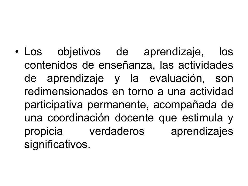 Los objetivos de aprendizaje, los contenidos de enseñanza, las actividades de aprendizaje y la evaluación, son redimensionados en torno a una activida