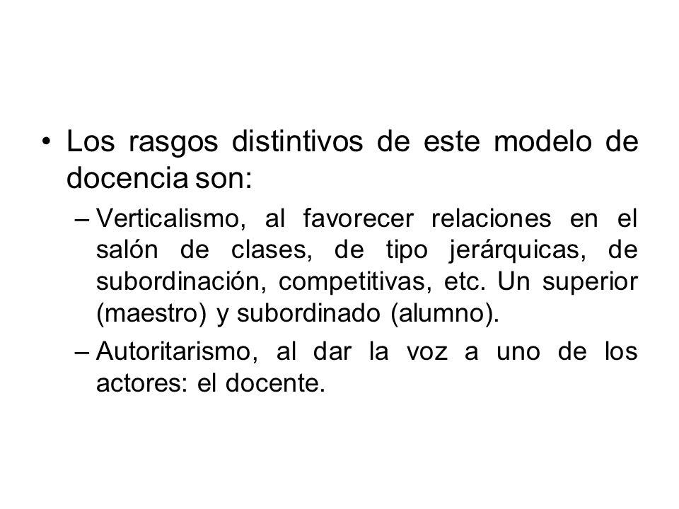 Los rasgos distintivos de este modelo de docencia son: –Verticalismo, al favorecer relaciones en el salón de clases, de tipo jerárquicas, de subordina