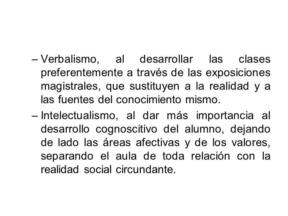 –Verbalismo, al desarrollar las clases preferentemente a través de las exposiciones magistrales, que sustituyen a la realidad y a las fuentes del cono