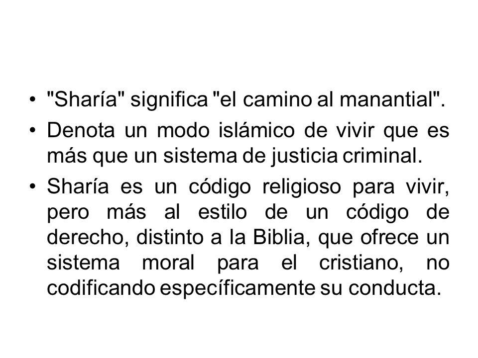 Las fuentes de la sharía son el Corán, el hadiz, el ÿma (consenso) y el Iÿtihad (esfuerzo).