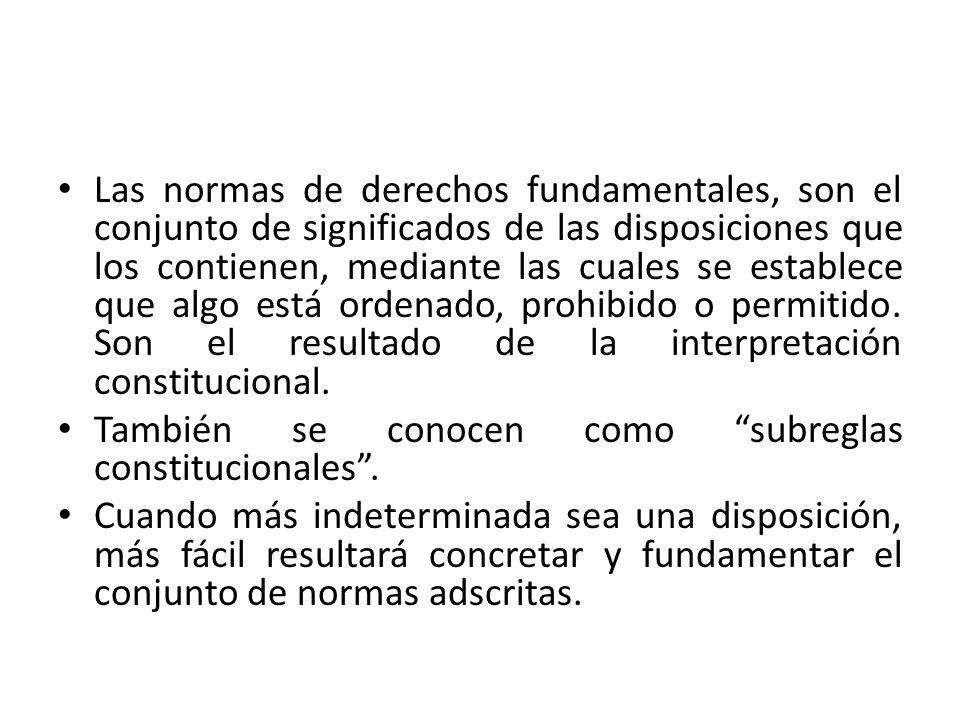 Las normas de derechos fundamentales, son el conjunto de significados de las disposiciones que los contienen, mediante las cuales se establece que alg