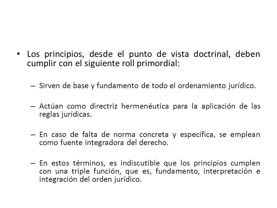 Los principios, desde el punto de vista doctrinal, deben cumplir con el siguiente roll primordial: – Sirven de base y fundamento de todo el ordenamien