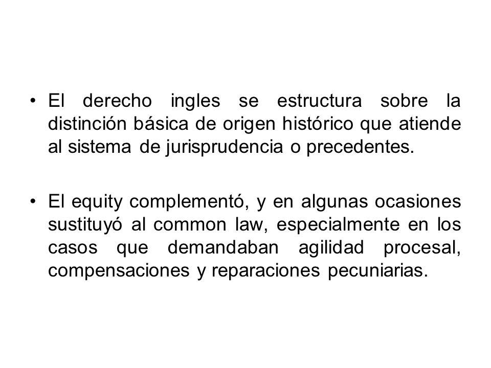El derecho ingles se estructura sobre la distinción básica de origen histórico que atiende al sistema de jurisprudencia o precedentes. El equity compl