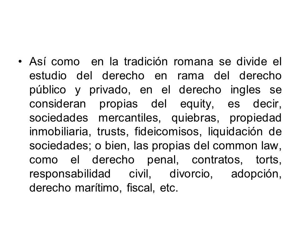 Así como en la tradición romana se divide el estudio del derecho en rama del derecho público y privado, en el derecho ingles se consideran propias del