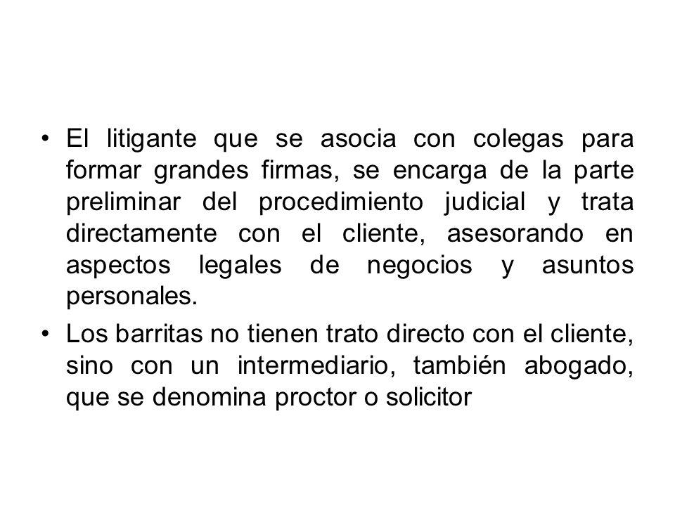 El litigante que se asocia con colegas para formar grandes firmas, se encarga de la parte preliminar del procedimiento judicial y trata directamente c