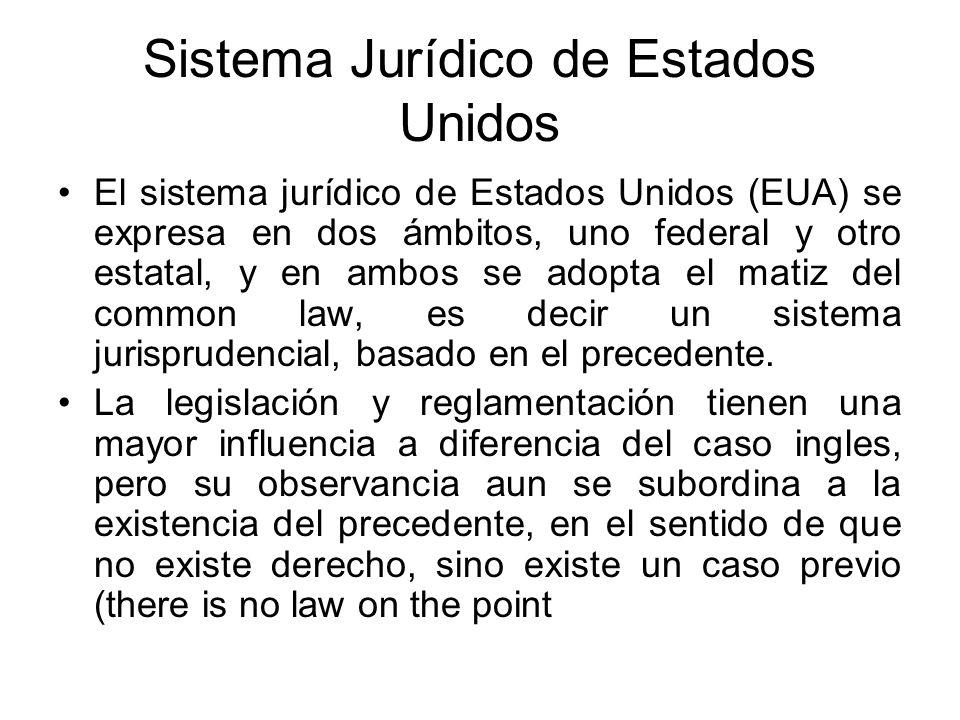 Sistema Jurídico de Estados Unidos El sistema jurídico de Estados Unidos (EUA) se expresa en dos ámbitos, uno federal y otro estatal, y en ambos se ad