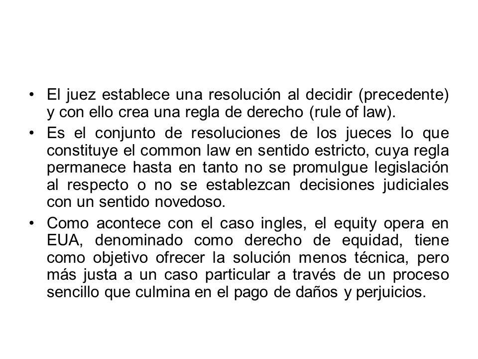 El juez establece una resolución al decidir (precedente) y con ello crea una regla de derecho (rule of law). Es el conjunto de resoluciones de los jue