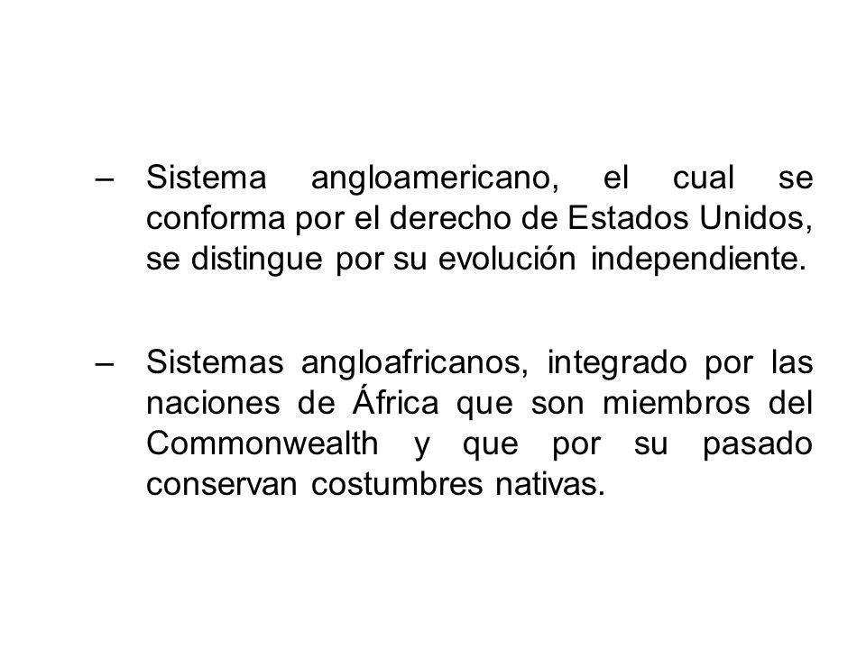 –Sistema angloamericano, el cual se conforma por el derecho de Estados Unidos, se distingue por su evolución independiente. –Sistemas angloafricanos,