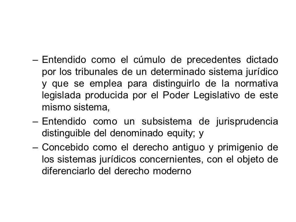 –Entendido como el cúmulo de precedentes dictado por los tribunales de un determinado sistema jurídico y que se emplea para distinguirlo de la normati