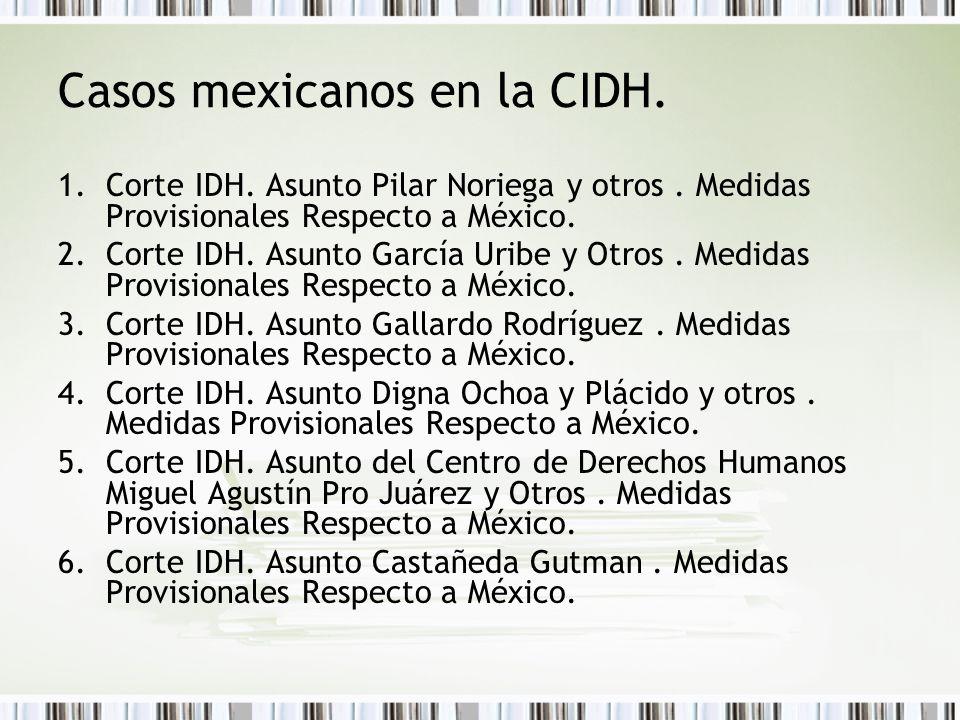 Casos mexicanos en la CIDH. 1.Corte IDH. Asunto Pilar Noriega y otros.
