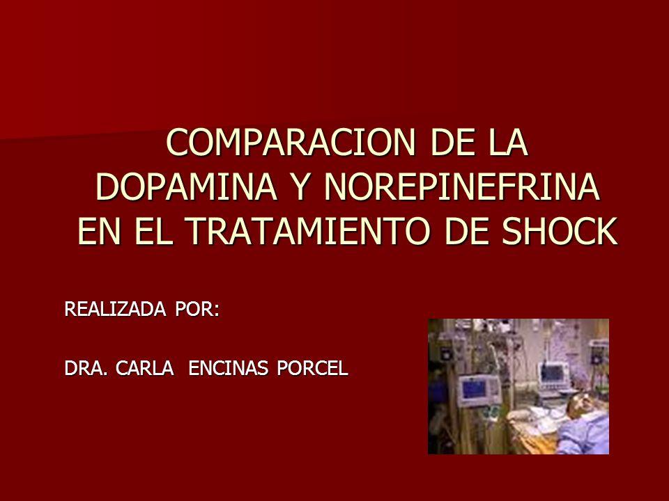 COMPARACION DE LA DOPAMINA Y NOREPINEFRINA EN EL TRATAMIENTO DE SHOCK REALIZADA POR: DRA. CARLA ENCINAS PORCEL
