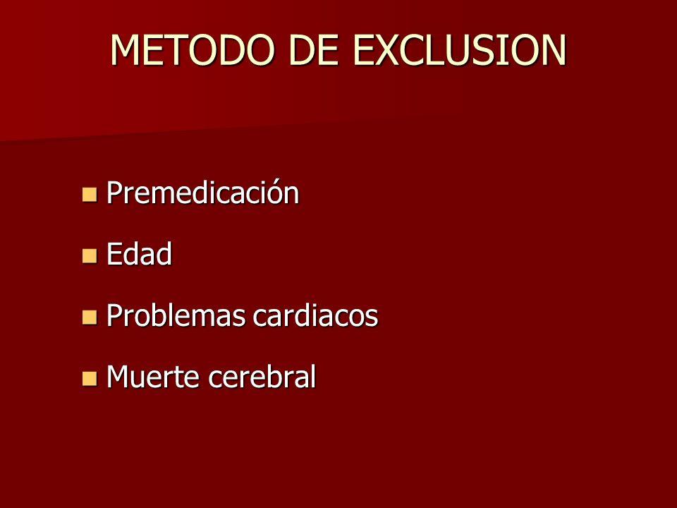 METODO DE EXCLUSION Premedicación Premedicación Edad Edad Problemas cardiacos Problemas cardiacos Muerte cerebral Muerte cerebral