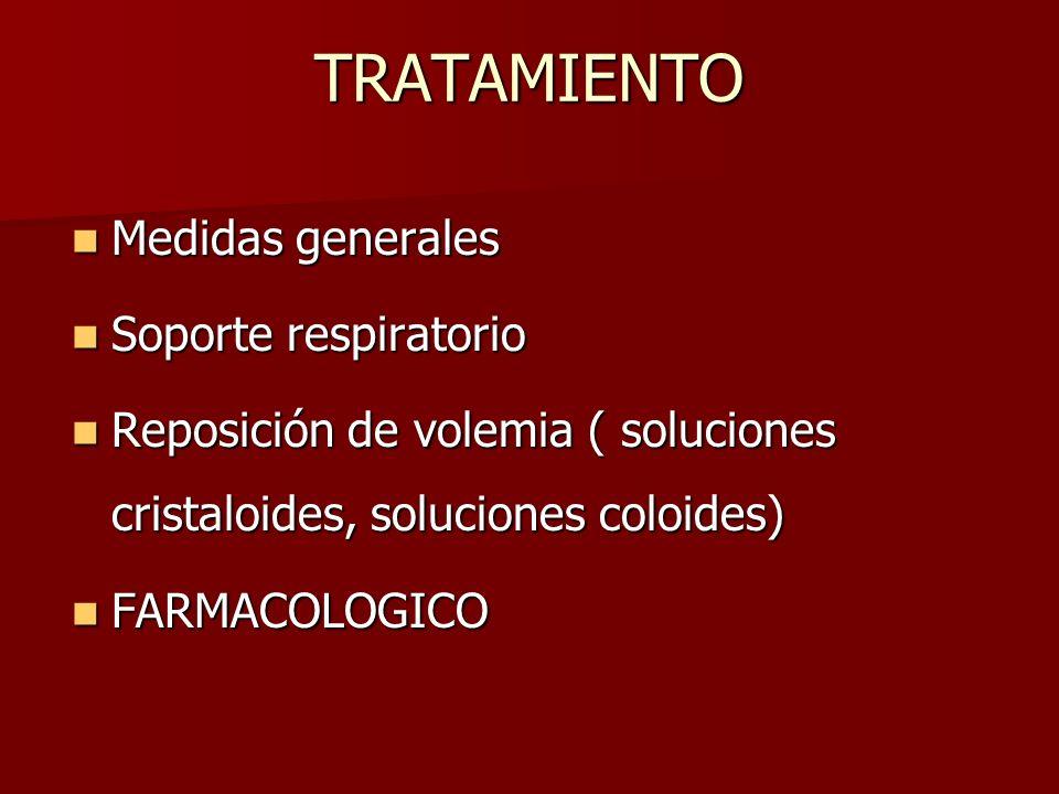 TRATAMIENTO Medidas generales Medidas generales Soporte respiratorio Soporte respiratorio Reposición de volemia ( soluciones cristaloides, soluciones