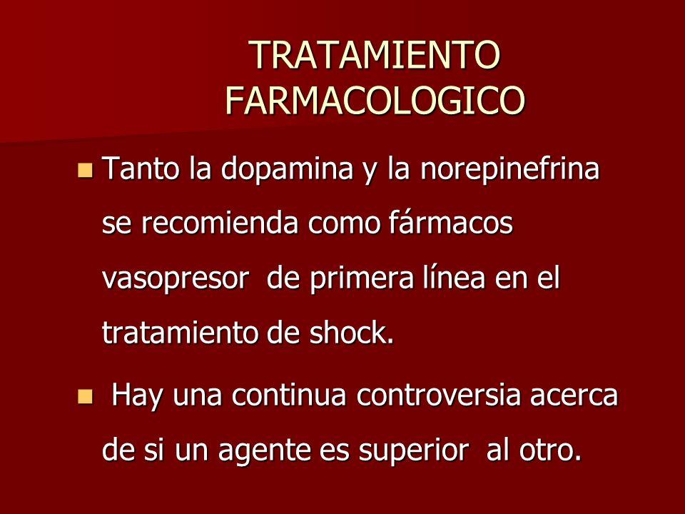 TRATAMIENTO FARMACOLOGICO Tanto la dopamina y la norepinefrina se recomienda como fármacos vasopresor de primera línea en el tratamiento de shock. Tan