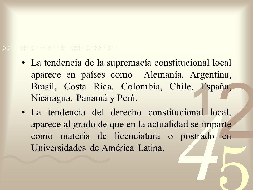 La tendencia de la supremacía constitucional local aparece en países como Alemanía, Argentina, Brasil, Costa Rica, Colombia, Chile, España, Nicaragua,