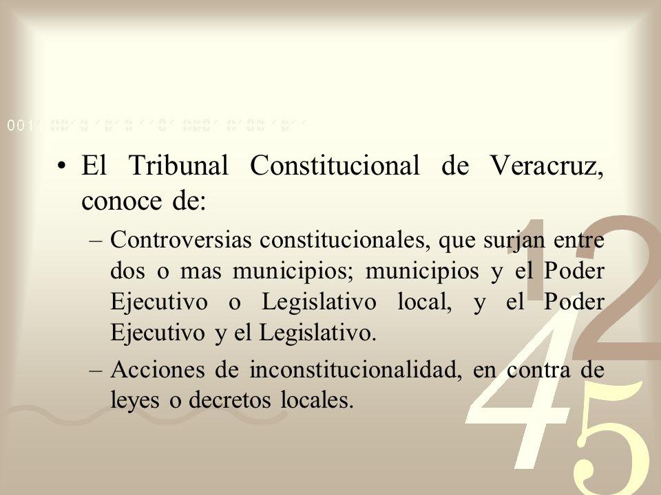 El Tribunal Constitucional de Veracruz, conoce de: –Controversias constitucionales, que surjan entre dos o mas municipios; municipios y el Poder Ejecu