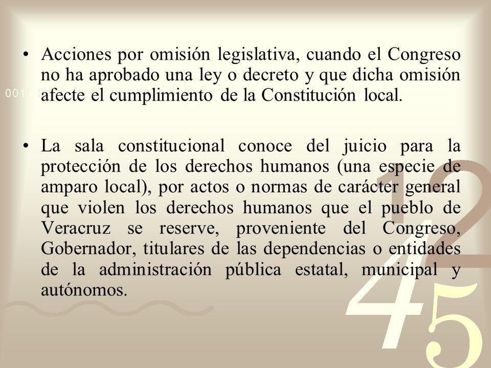 Acciones por omisión legislativa, cuando el Congreso no ha aprobado una ley o decreto y que dicha omisión afecte el cumplimiento de la Constitución lo
