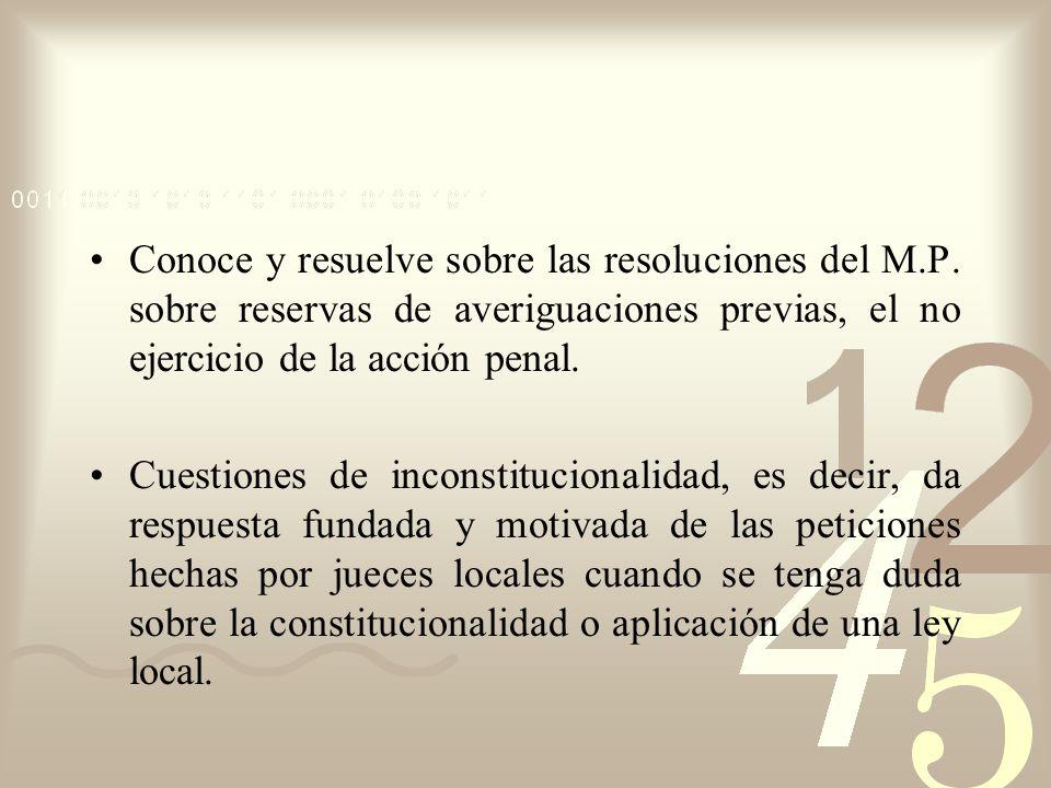 Conoce y resuelve sobre las resoluciones del M.P. sobre reservas de averiguaciones previas, el no ejercicio de la acción penal. Cuestiones de inconsti