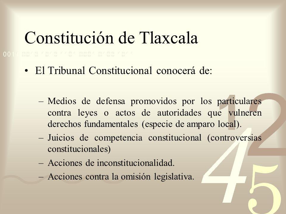 Constitución de Tlaxcala El Tribunal Constitucional conocerá de: –Medios de defensa promovidos por los particulares contra leyes o actos de autoridade