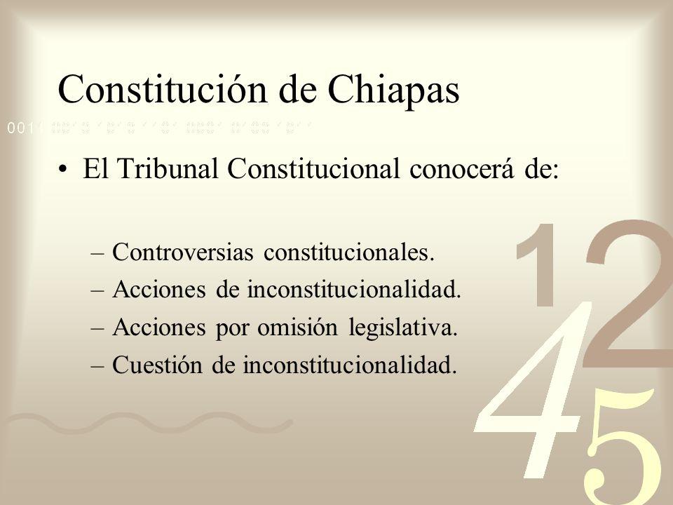 Constitución de Chiapas El Tribunal Constitucional conocerá de: –Controversias constitucionales. –Acciones de inconstitucionalidad. –Acciones por omis