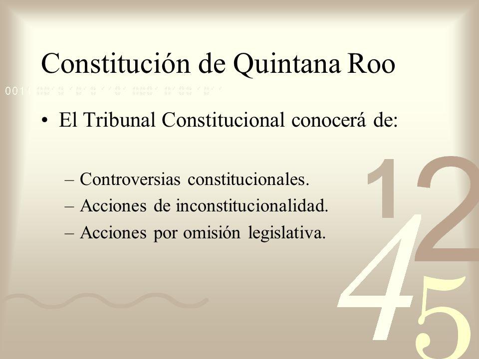 Constitución de Quintana Roo El Tribunal Constitucional conocerá de: –Controversias constitucionales. –Acciones de inconstitucionalidad. –Acciones por