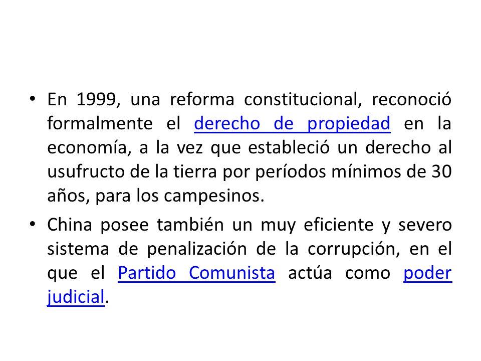 En 1999, una reforma constitucional, reconoció formalmente el derecho de propiedad en la economía, a la vez que estableció un derecho al usufructo de