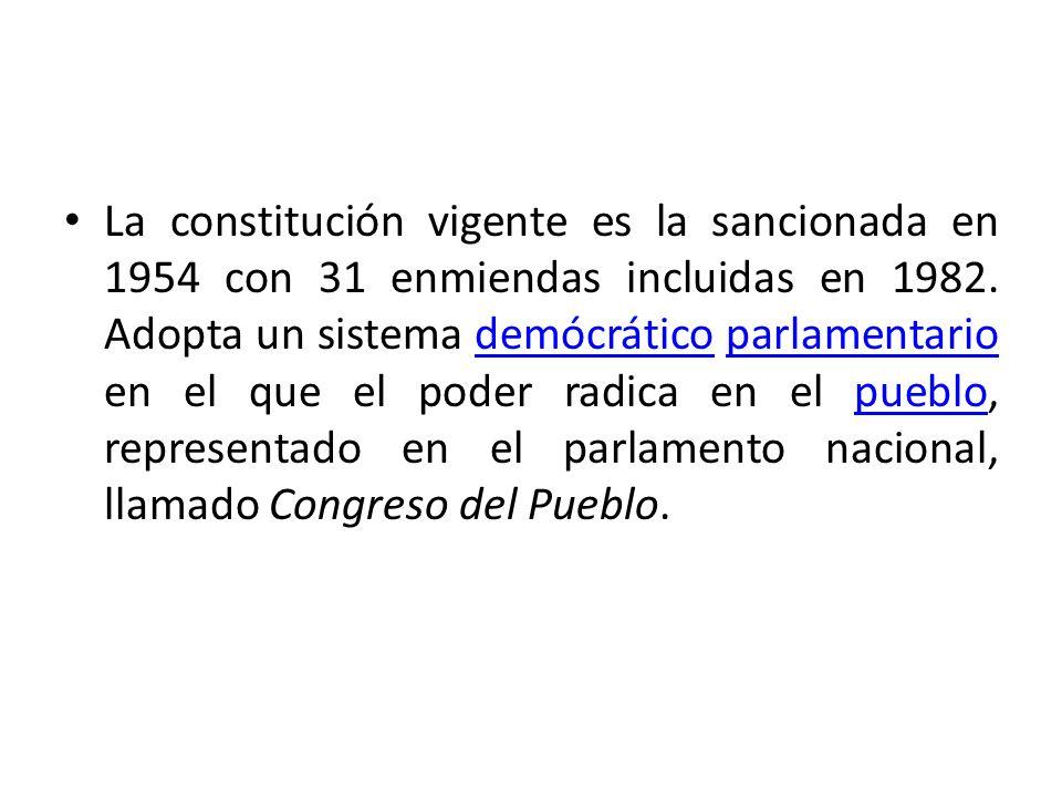 La constitución vigente es la sancionada en 1954 con 31 enmiendas incluidas en 1982. Adopta un sistema demócrático parlamentario en el que el poder ra