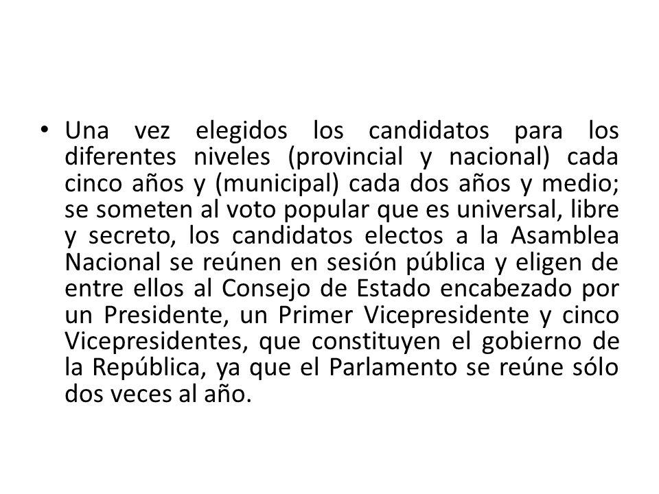 Una vez elegidos los candidatos para los diferentes niveles (provincial y nacional) cada cinco años y (municipal) cada dos años y medio; se someten al
