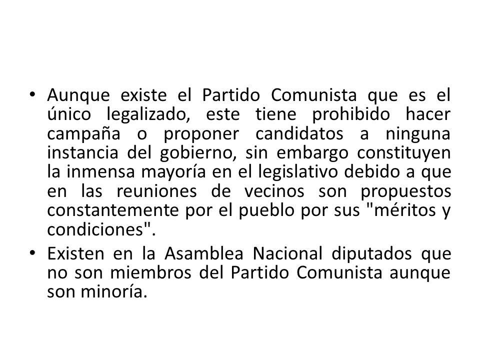 Aunque existe el Partido Comunista que es el único legalizado, este tiene prohibido hacer campaña o proponer candidatos a ninguna instancia del gobier