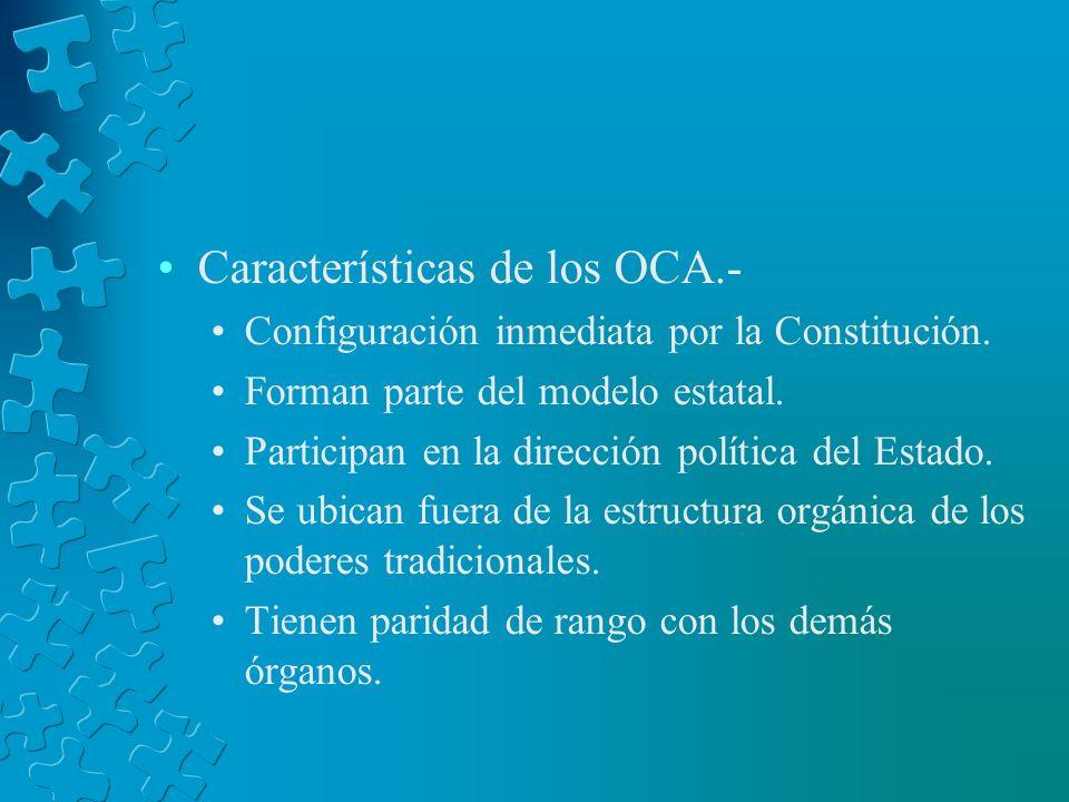Características de los OCA.- Configuración inmediata por la Constitución. Forman parte del modelo estatal. Participan en la dirección política del Est