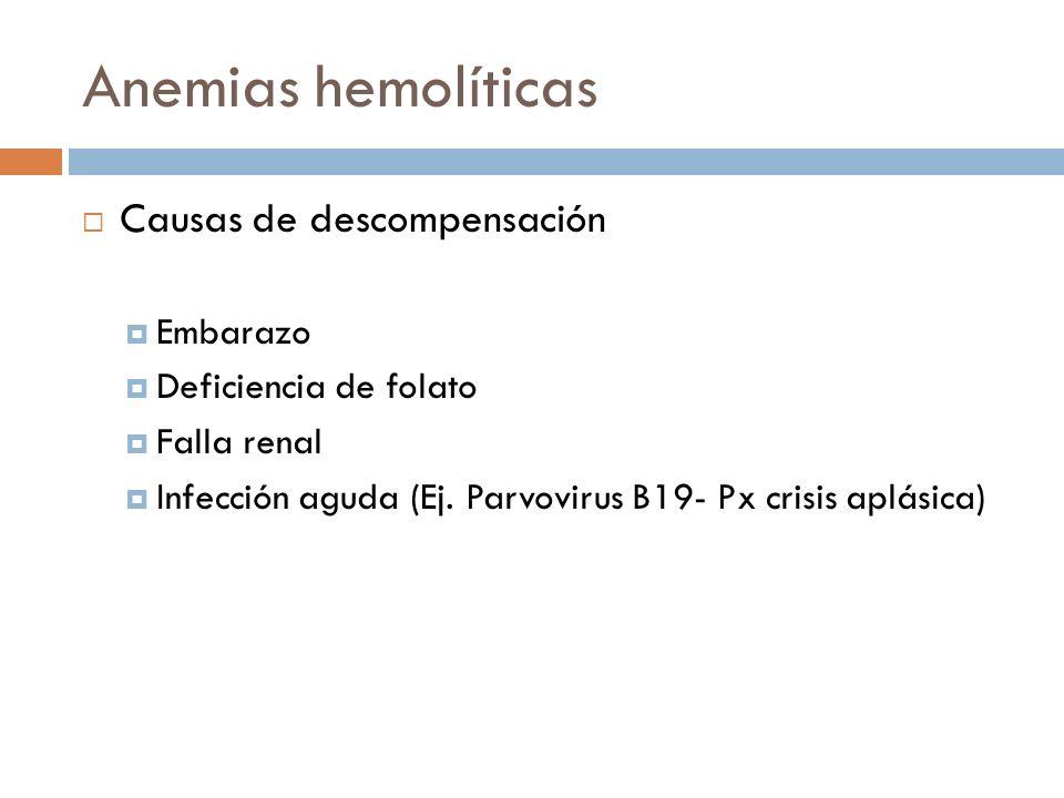 Anemias hemolíticas Causas de descompensación Embarazo Deficiencia de folato Falla renal Infección aguda (Ej. Parvovirus B19- Px crisis aplásica)
